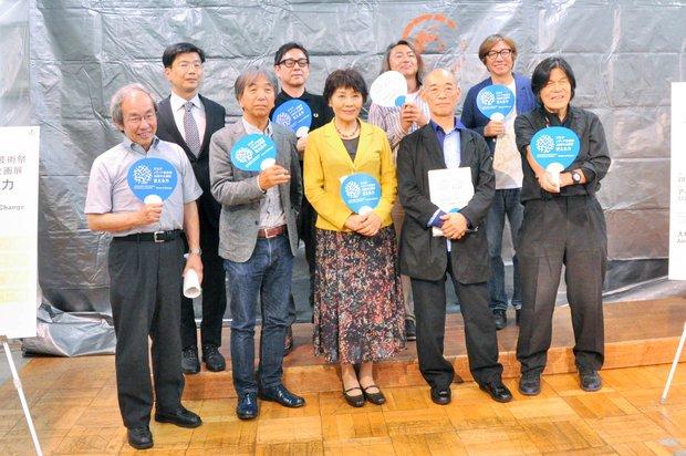 上段左から、阿部芳久さん、田中秀幸さん、和田敏克さん、しりあがり寿さん。下段左から、原島博さん、古川タクさん、里中満智子さん、富野由悠季さん、河口洋一郎さん