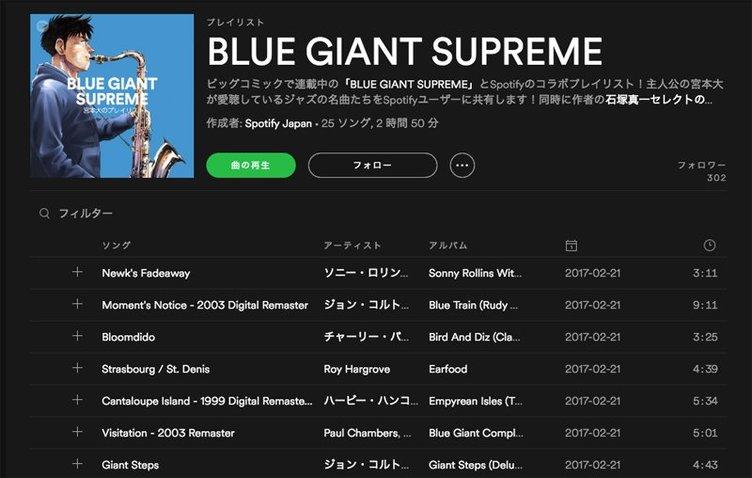 ジャズ漫画『BLUE GIANT SUPREME』プレイリストがSpotifyで公開