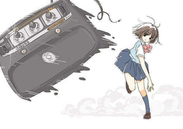 エフェクターの名機・DMを投げる女子高生のイラス... エフェクターの名機・DMを投げる女子高生