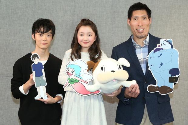 (左から)下田翔大さん、谷花音さん、篠原信一さん