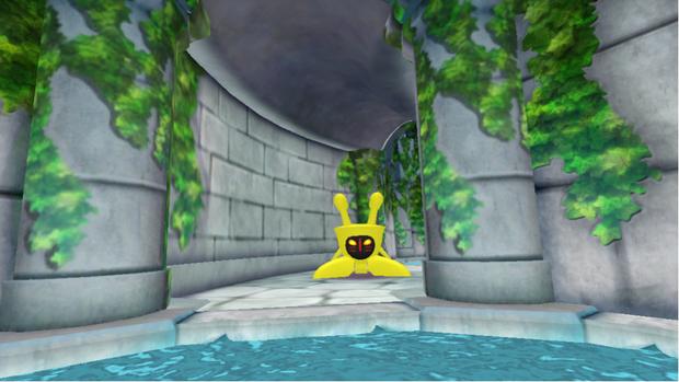 「ハコスコ」を介して見るVR上の映像。黄色の物体が霊獣ラパラパ