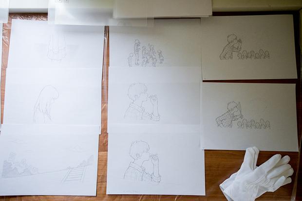 窪之内英策 × 駅すぱあと 手描きアニメ『サヨとコウの出発』イラスト制作&撮影風景13